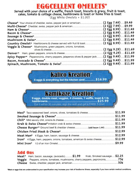 Kalico Kitchen Menu